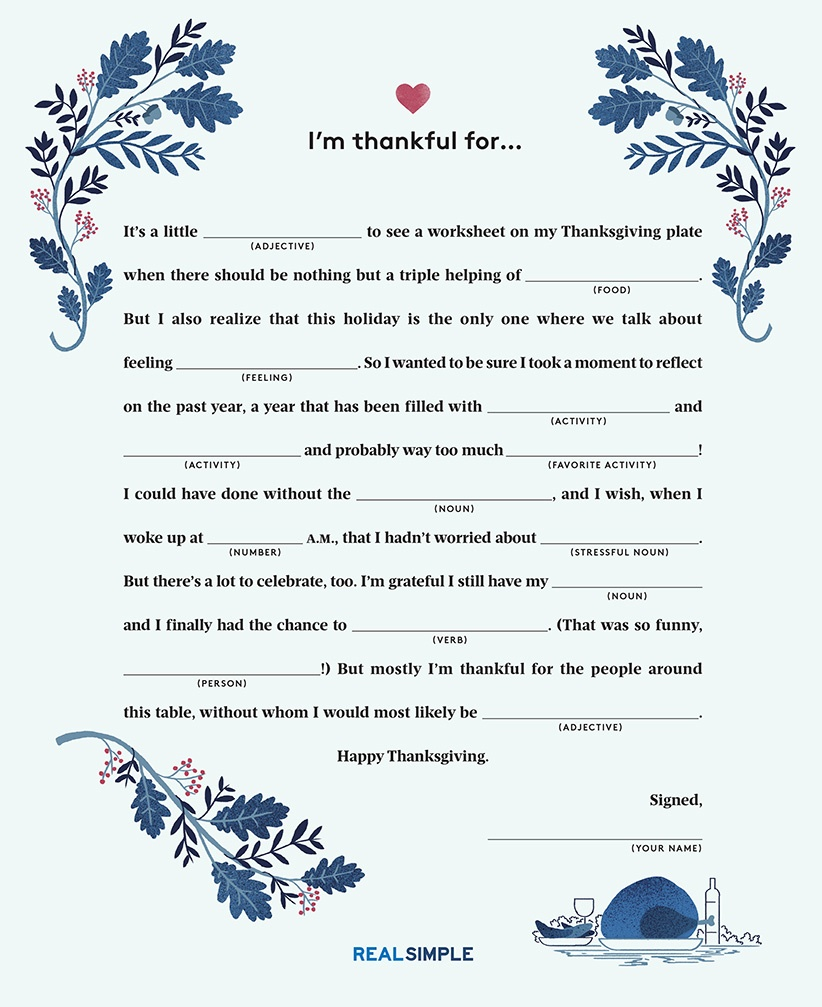The Hilarious Item Every Thanksgiving Table Should Have | Real Simple - Free Printable Thanksgiving Mad Libs