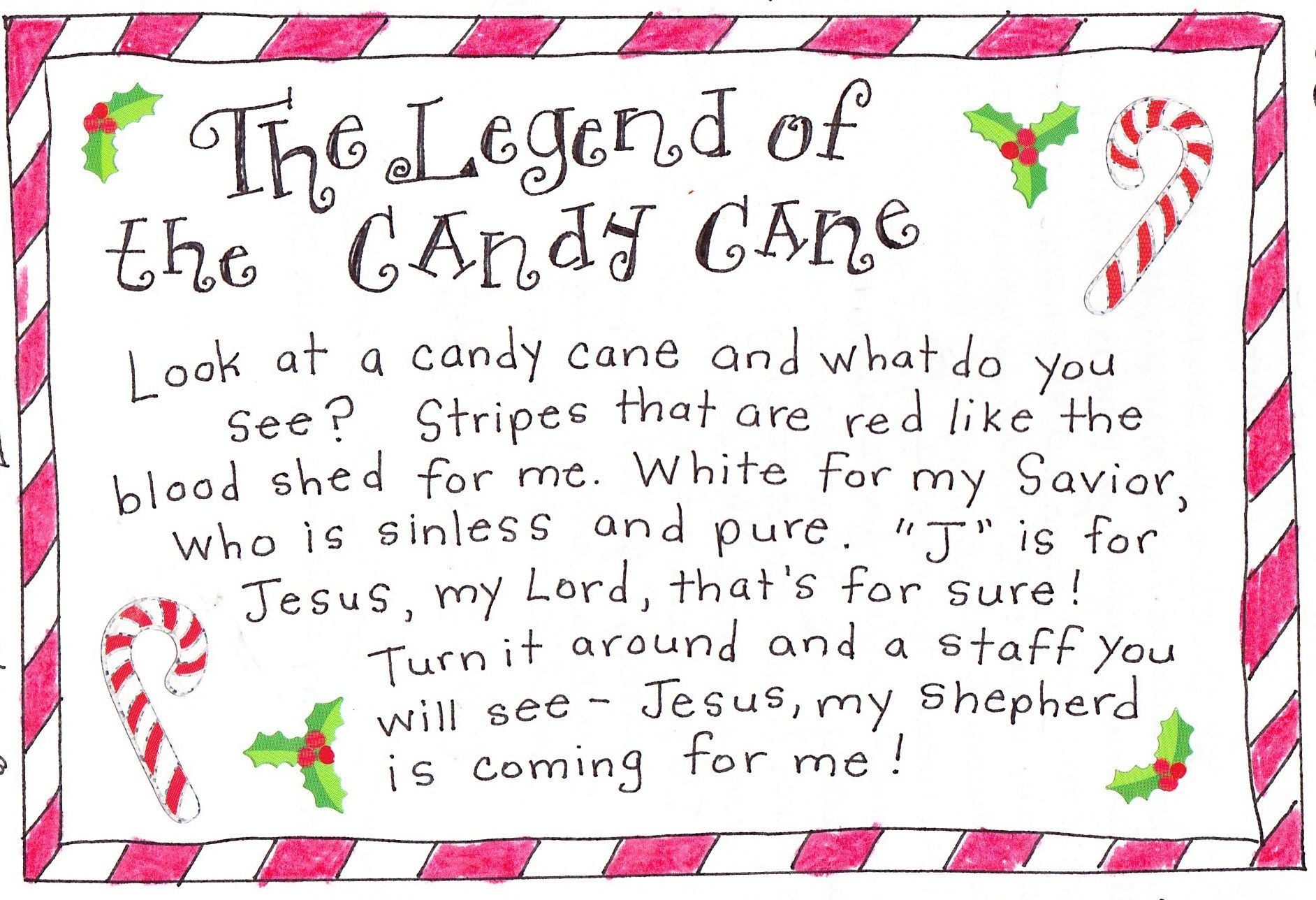 The Legend Of The Candy Cane - Free Printable | Christmas | Candy - Free Printable Candy Cane Poem