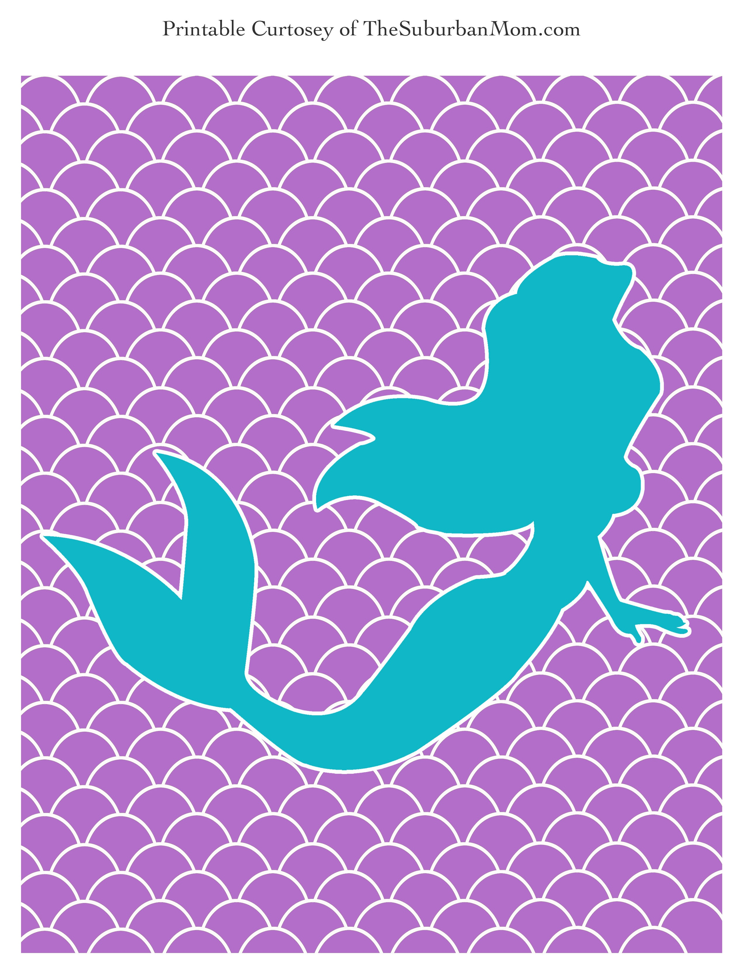 The Little Mermaid Party Poster & Labels ~ Free Printable - Free Mermaid Printables