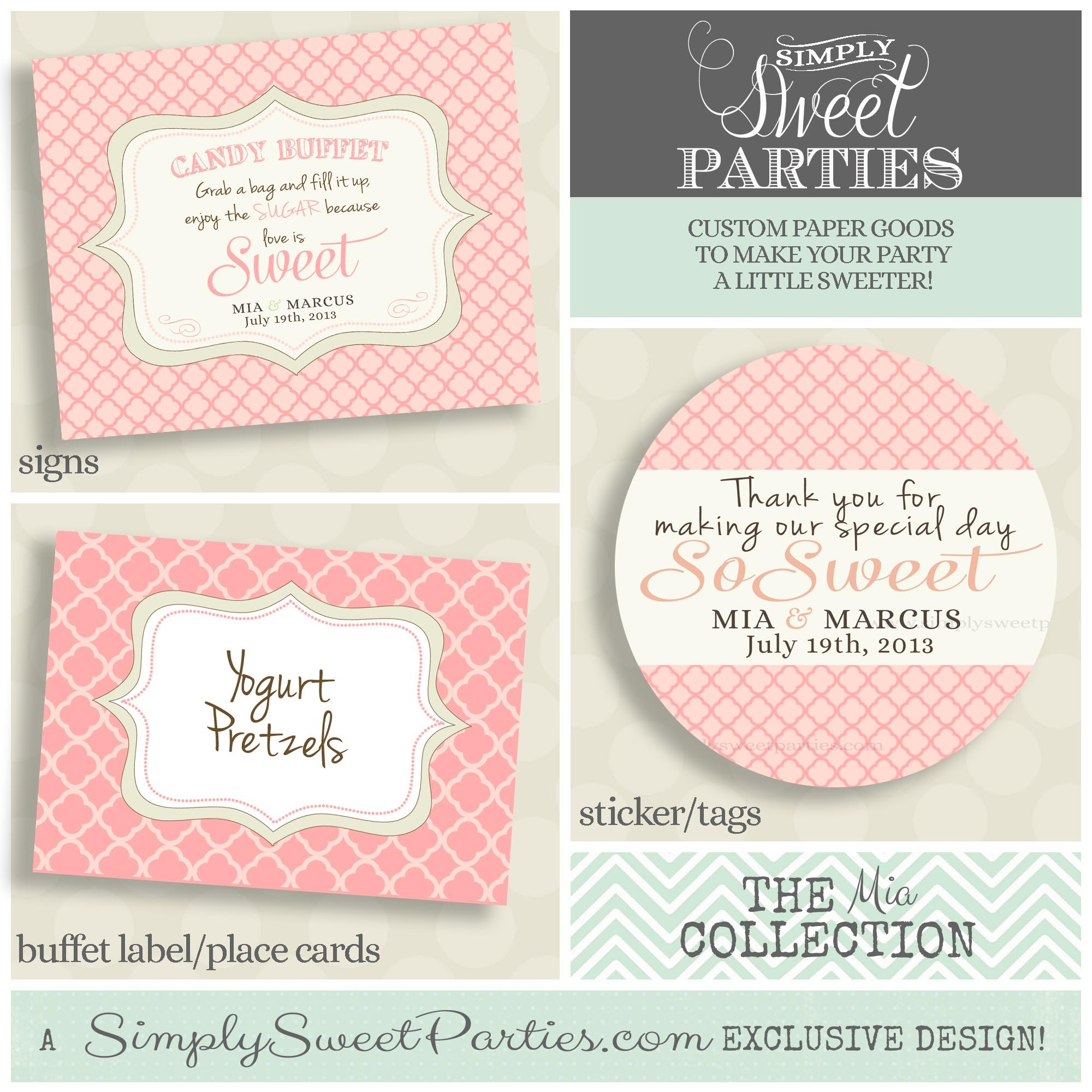 The Mia Collection Printable Candy Buffet Sign Sticker And Labels - Free Printable Candy Table Labels