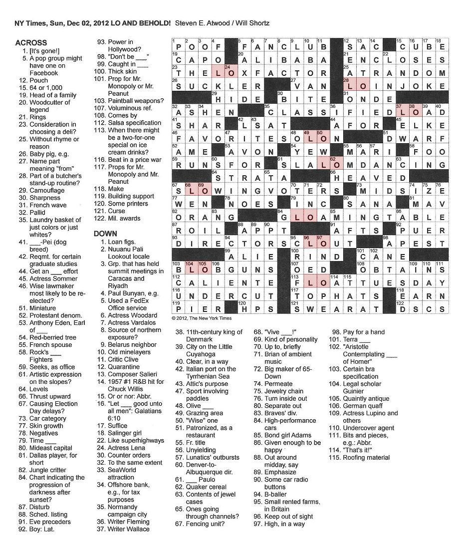 The New York Times Crossword In Gothic: 12.02.12 — Lo And Behold - New York Times Crossword Printable Free Monday
