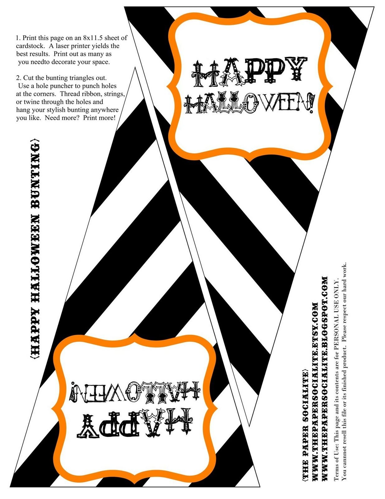 The Paper Socialite: {Freebie!!} Halloween Bunting To Kick Off The - Free Printable Halloween Banner Templates