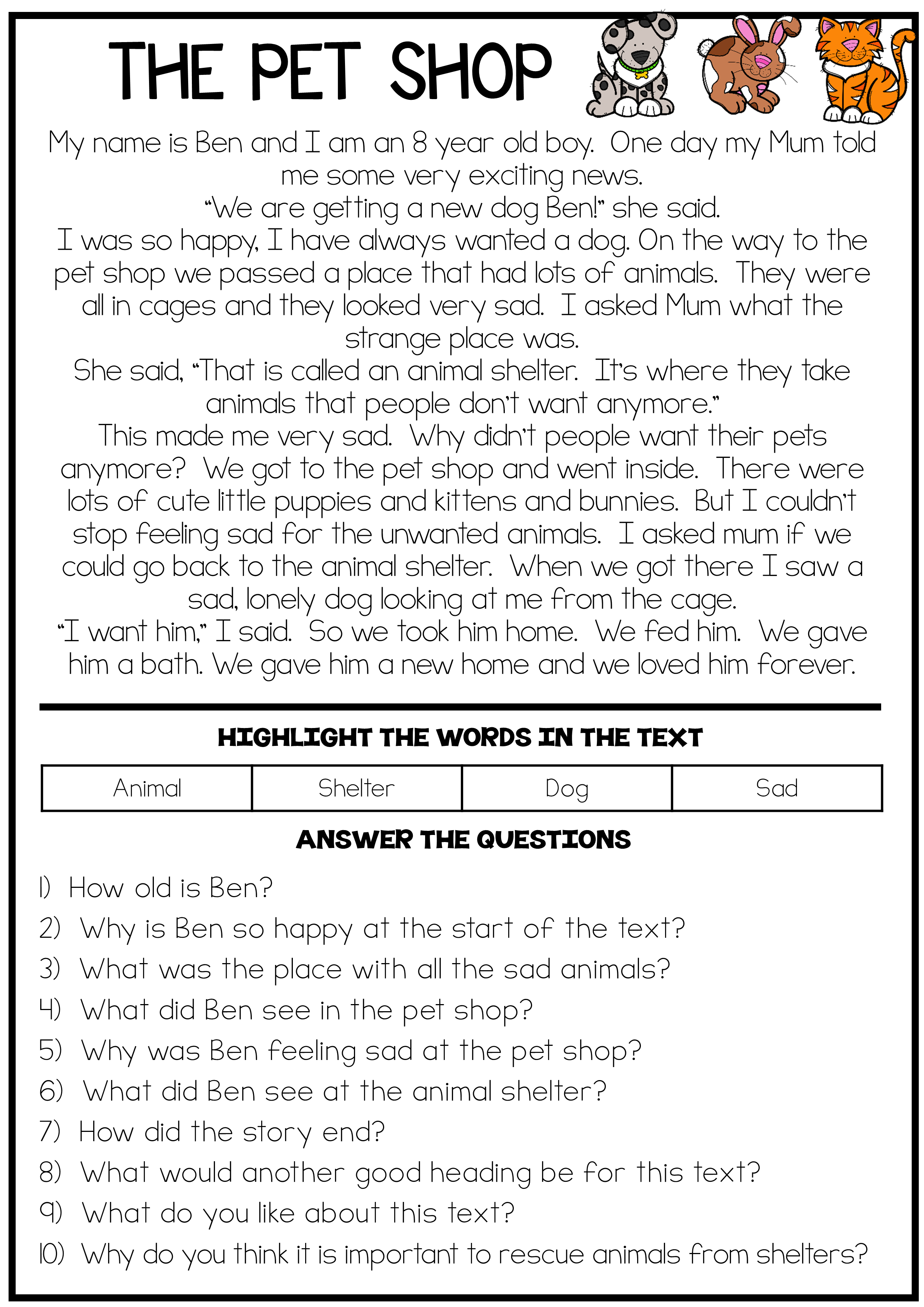 The Pet Shop - Reading Comprehension Passage | Pencils, Chalk, And - Free Printable Read Naturally Passages