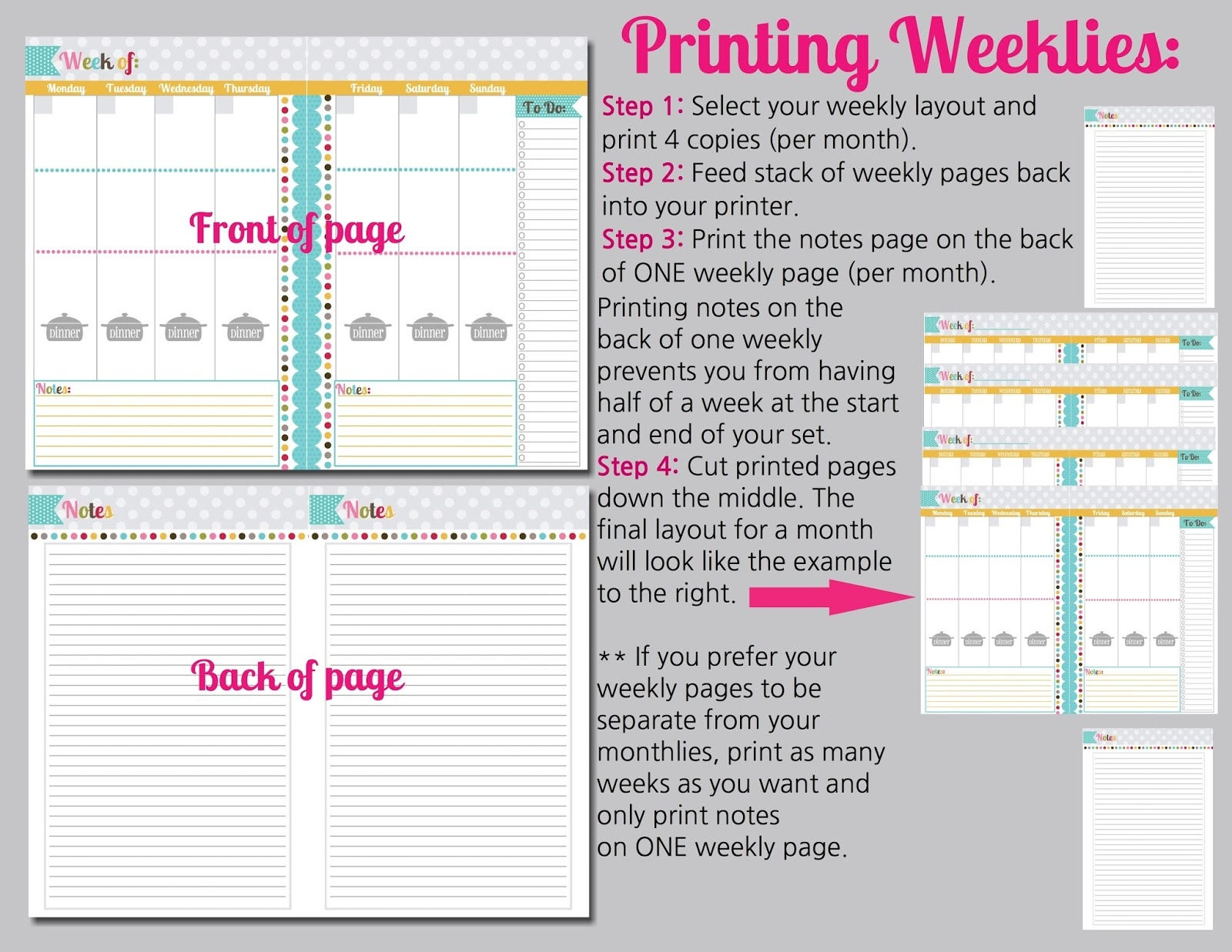 The Polka Dot Posie: How To Print & Assemble Our Small Planner Pages - Mini Binder Free Printables