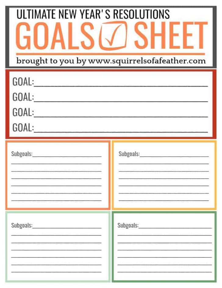Free New Year's Resolution Printables