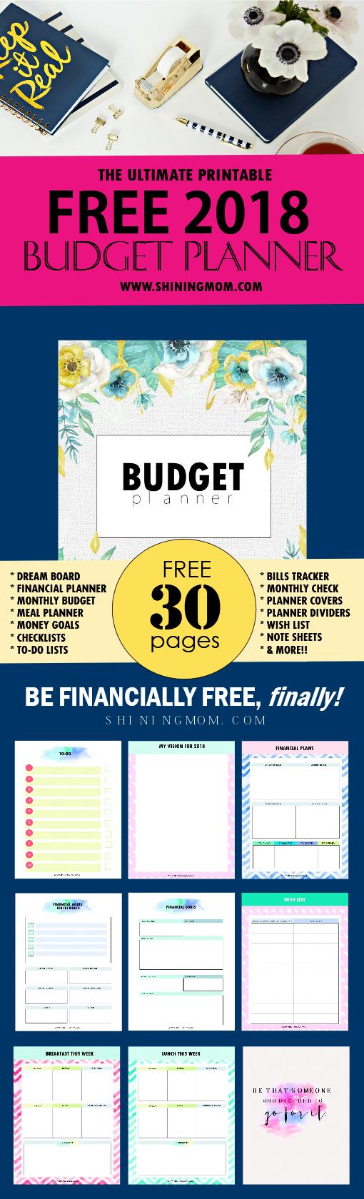 The Ultimate Free Printable 2018 Budget Planner You Need! - Budget Binder Printables 2018 Free