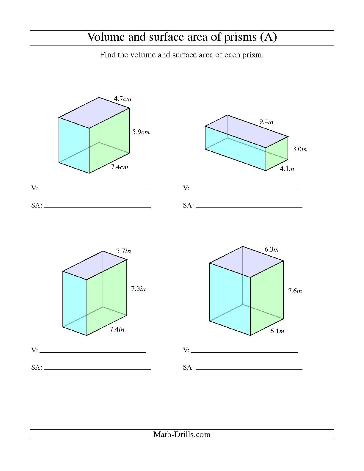 The Volume And Surface Area Of Rectangular Prisms With Decimal - Free Printable Volume Of Rectangular Prism Worksheets