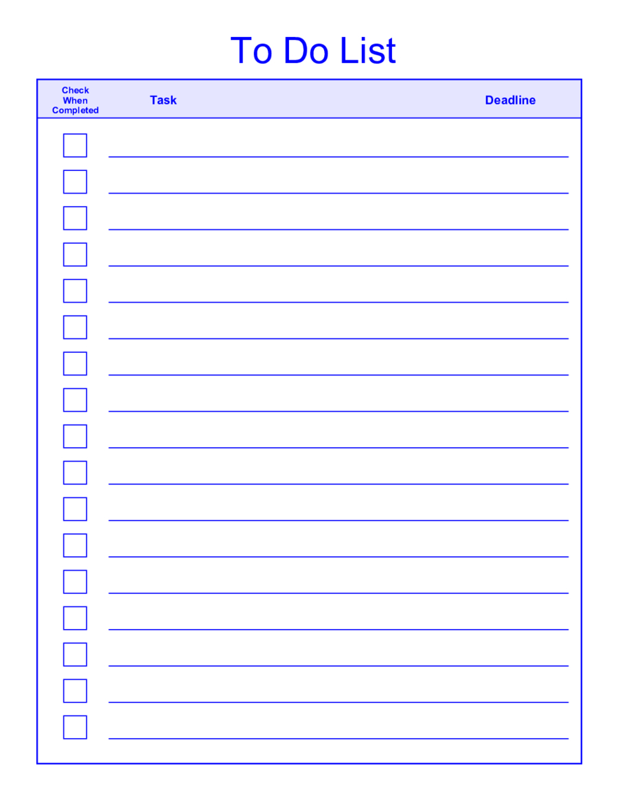 Things-To-Do-List-Template-Pdf - Free To Do List Template Printable