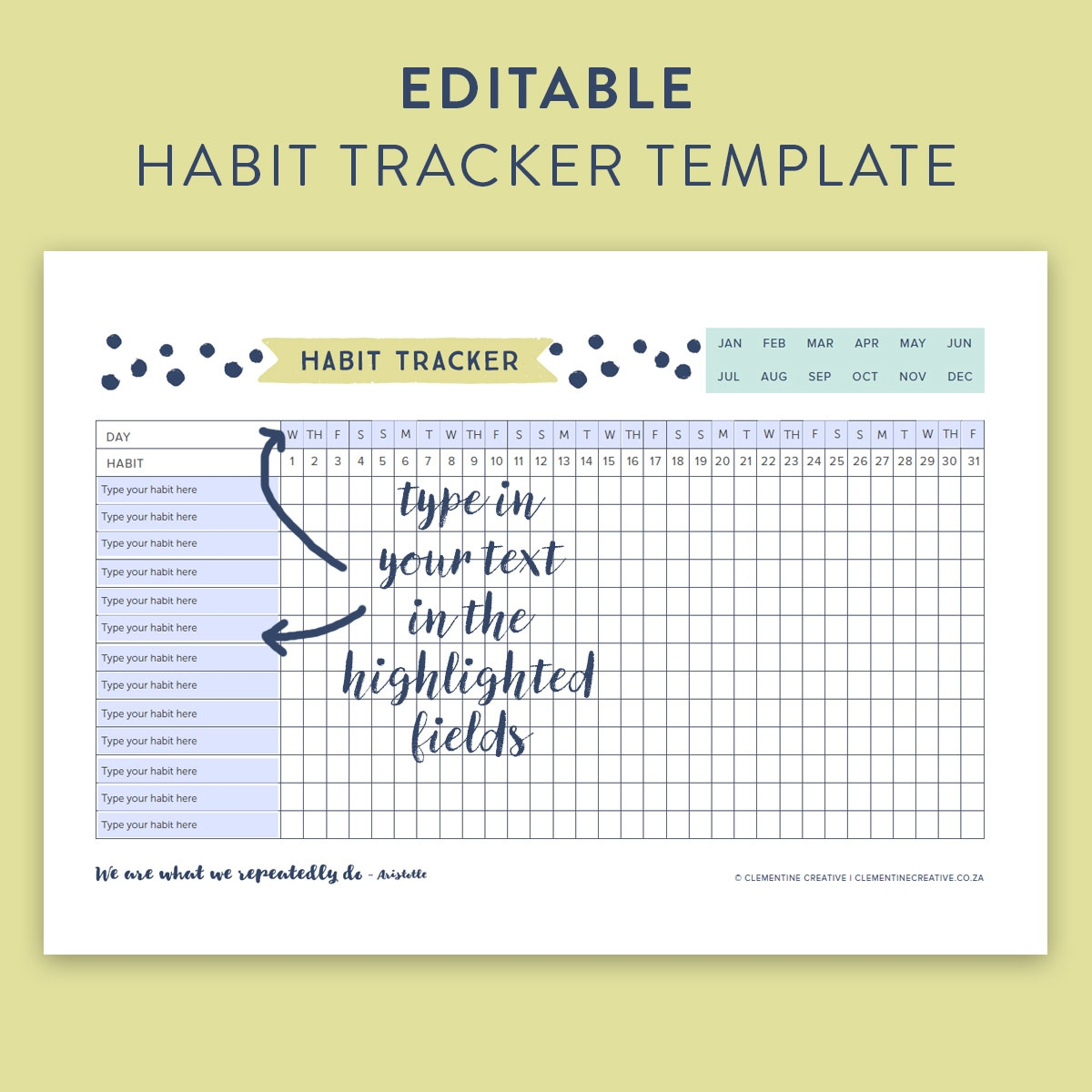 This Free Printable Habit Tracker Will Help You Reach Your Goals - Free Printable Habit Tracker
