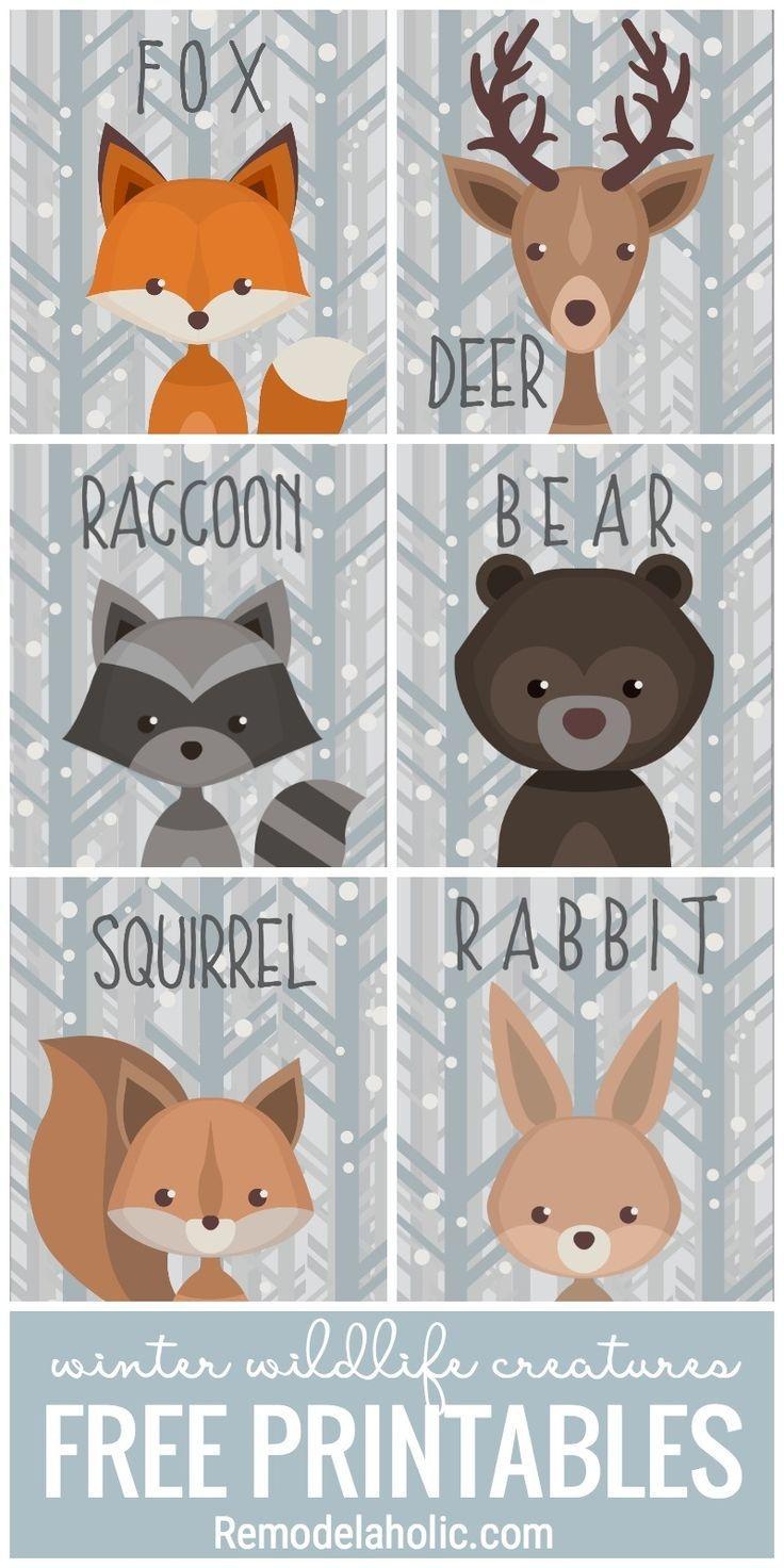 This Free Set Of Printable Winter Woodland Creature Art Is Versatile - Free Woodland Animal Printables