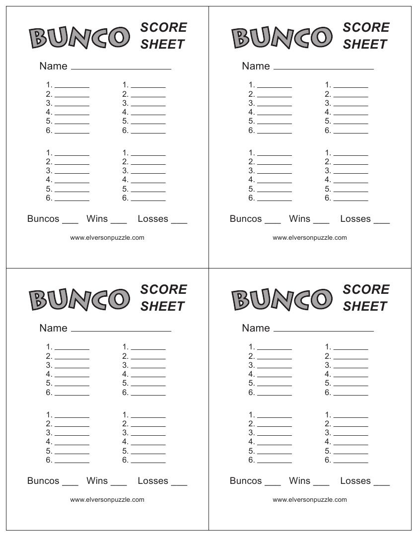This Is The Bunco Score Sheet Download Page. You Can Free Download - Free Printable Bunco Game Sheets