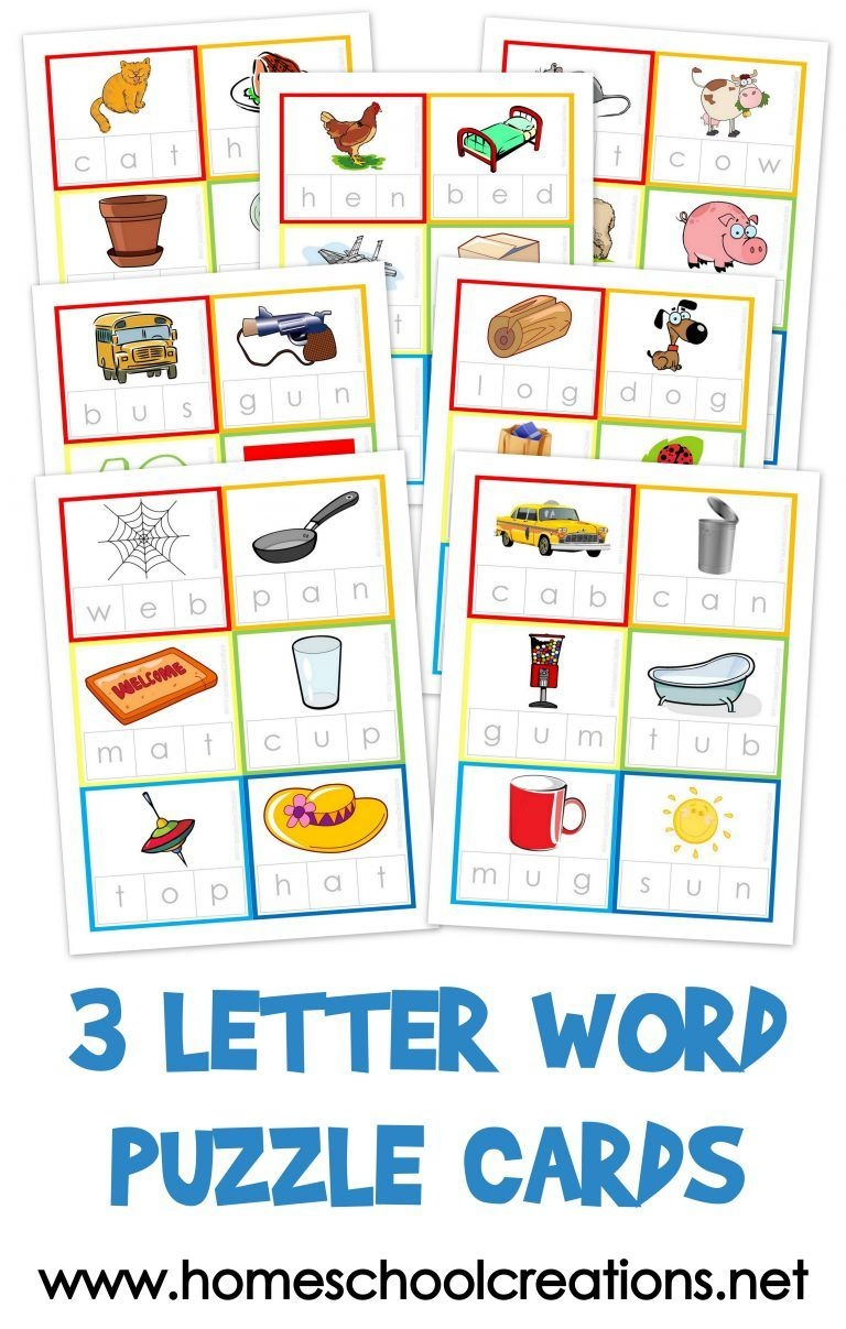 Three Letter Word Cards ~ Free Printable | Kindergarten Stuff | 3 - Free Printable Cvc Words With Pictures