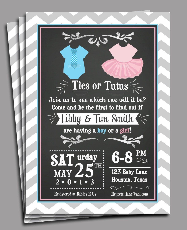 Ties Or Tutus Gender Reveal Invitation Printable Or Printed With - Free Printable Gender Reveal Invitations