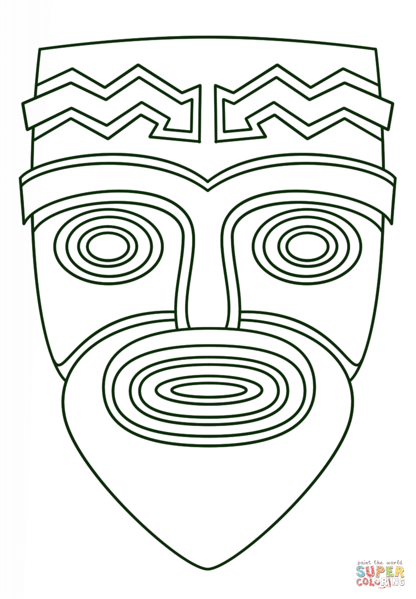 Tiki Face Coloring Page | Free Printable Coloring Pages - Tiki Coloring Pages Free Printables