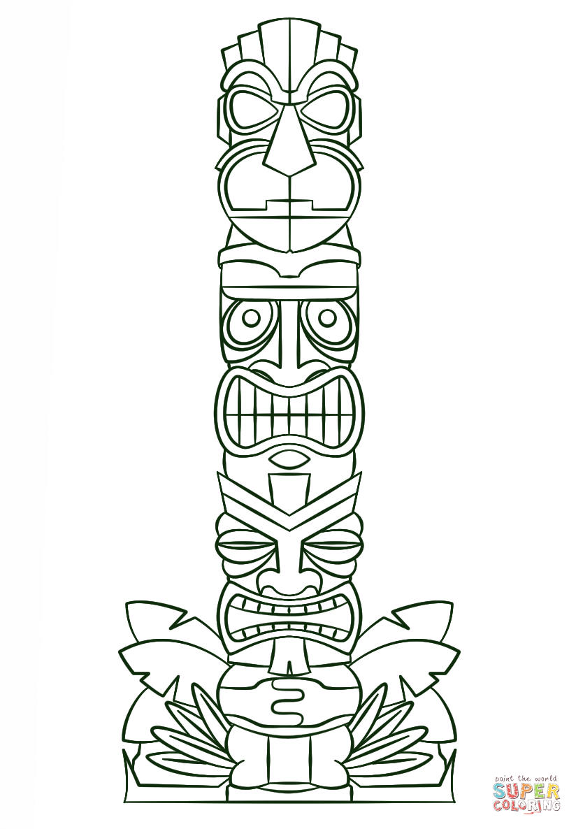 Tiki Tribal Pole Coloring Page | Free Printable Coloring Pages - Tiki Coloring Pages Free Printables