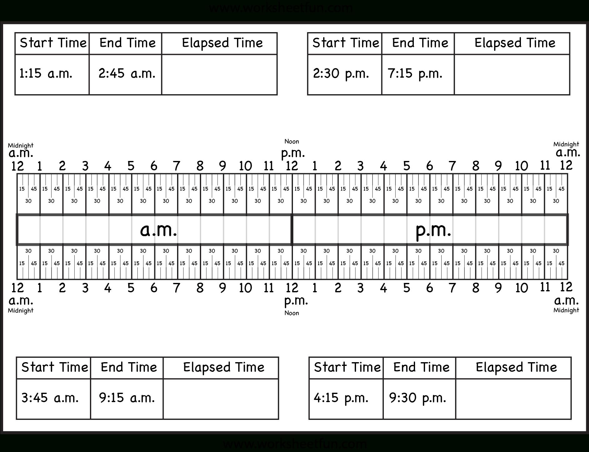 Time – Elapsed Time / Free Printable Worksheets – Worksheetfun - Elapsed Time Worksheets Free Printable