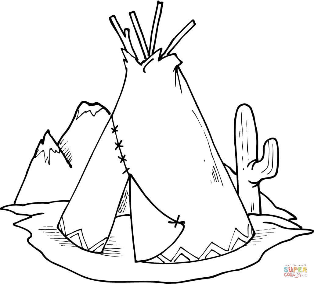 Tipi (Teepee) And Cactus Coloring Page   Free Printable Coloring Pages - Free Printable Teepee