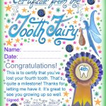 Tooth Fairy Certificate: Award For Losing Your Fourth Tooth   Free Tooth Fairy Printables