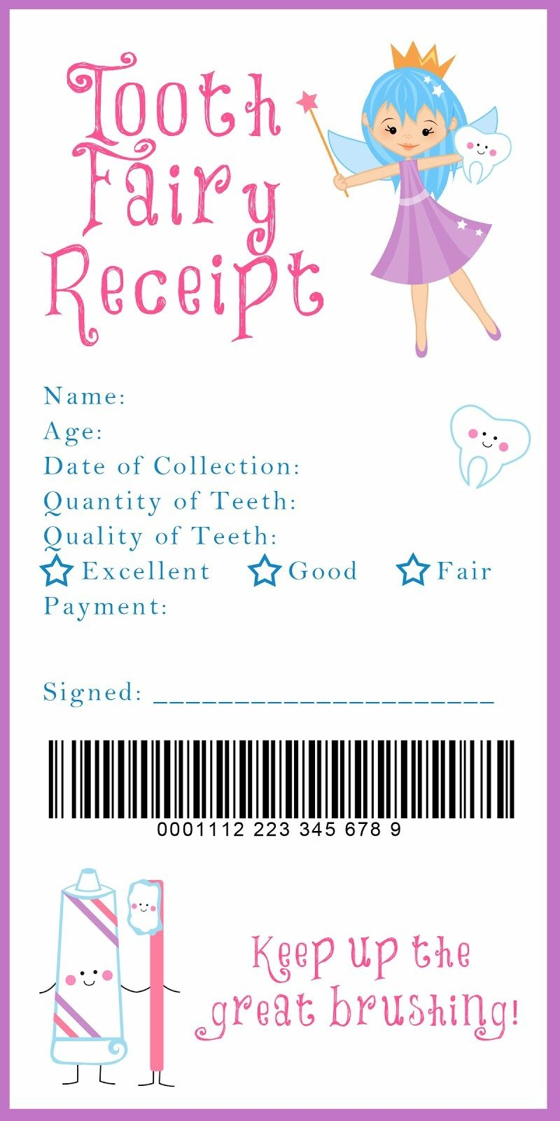 Tooth Fairy Receipt And Many Other Awesome Printables | A Xixi <3 - Free Tooth Fairy Printables