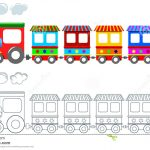 Toy Colorful Train Coloring Page Isolated Stock Vector   Free Printable Train Pictures