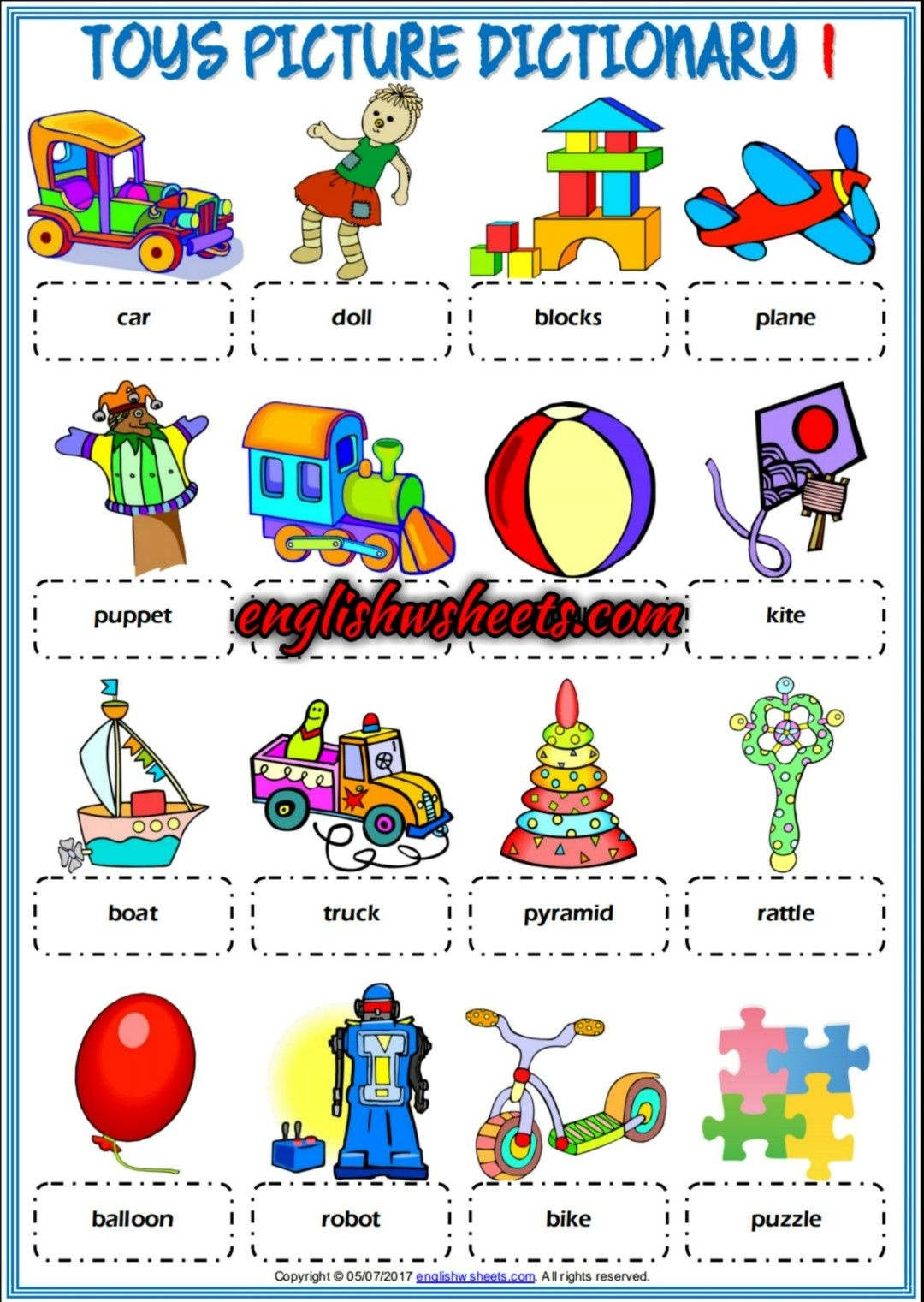 Toys Esl Printable Picture Dictionaries For Kids #toys #esl - Free Printable Picture Dictionary For Kids