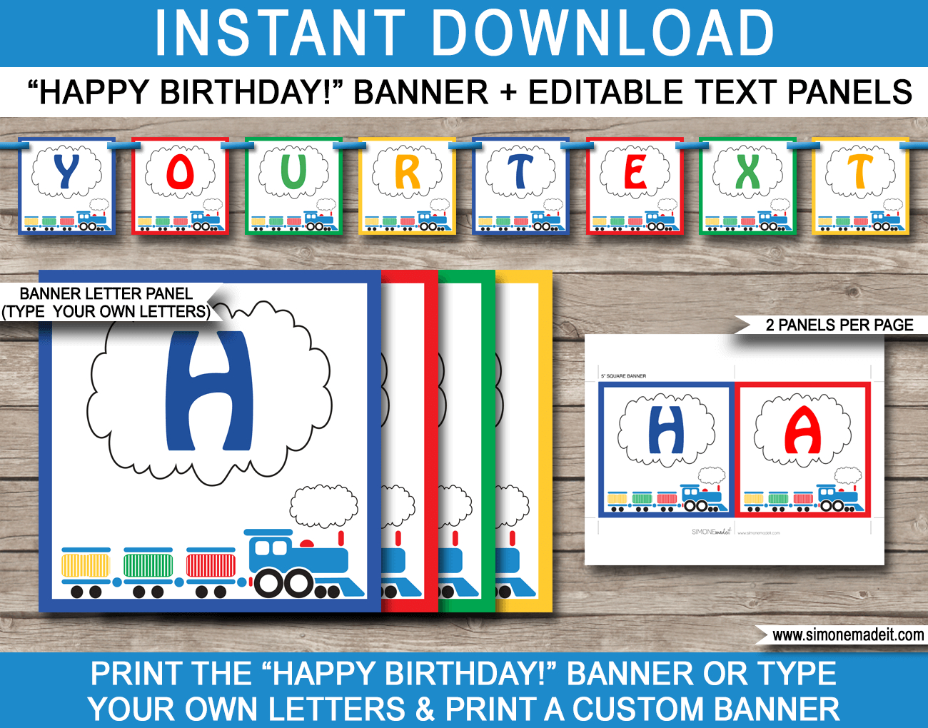 Train Party Banner Template | Happy Birthday Banner | Editable Bunting - Simone Made It Free Printables