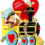 Train Valentine, Vintage Valentine Clip Art, Boy Engineer Driving   Free Printable Vintage Valentine Clip Art