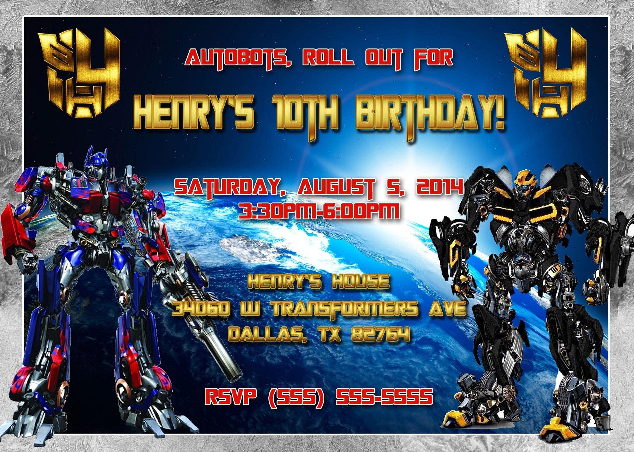 Transformer Invitation Template Transformers Birthday Invitations - Transformers Party Invitations Free Printable