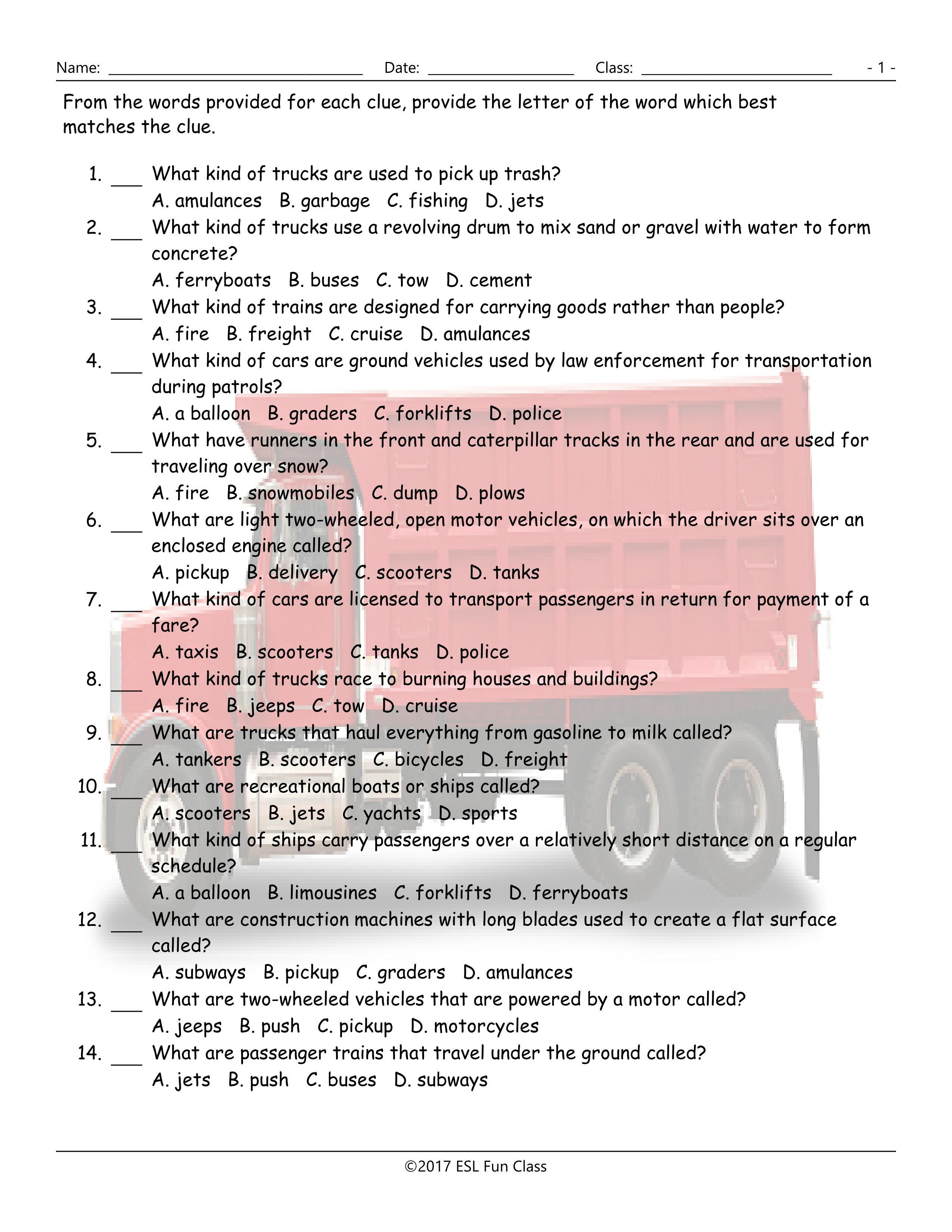 Transportation-Vehicles Multiple Choice Worksheet-Esl Fun Games-Have - Free Printable Multiple Choice Worksheets