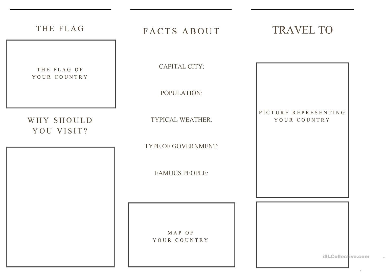 Travel Brochure Template And Example Brochure Worksheet - Free Esl - Free Printable Travel Brochures