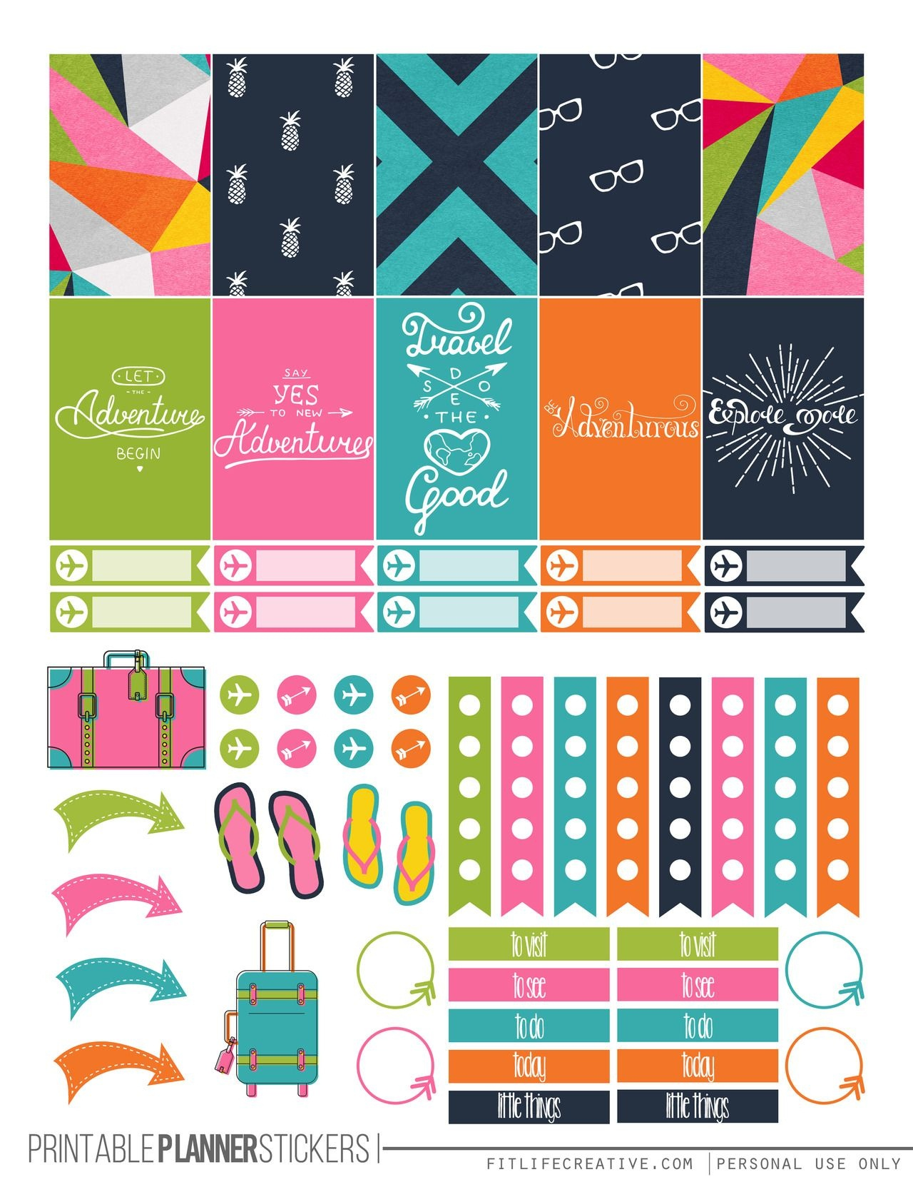 Travel Themed Printable Happy Planner Stickers-Free | Die Cut Crafts - Free Printable Travel Stickers