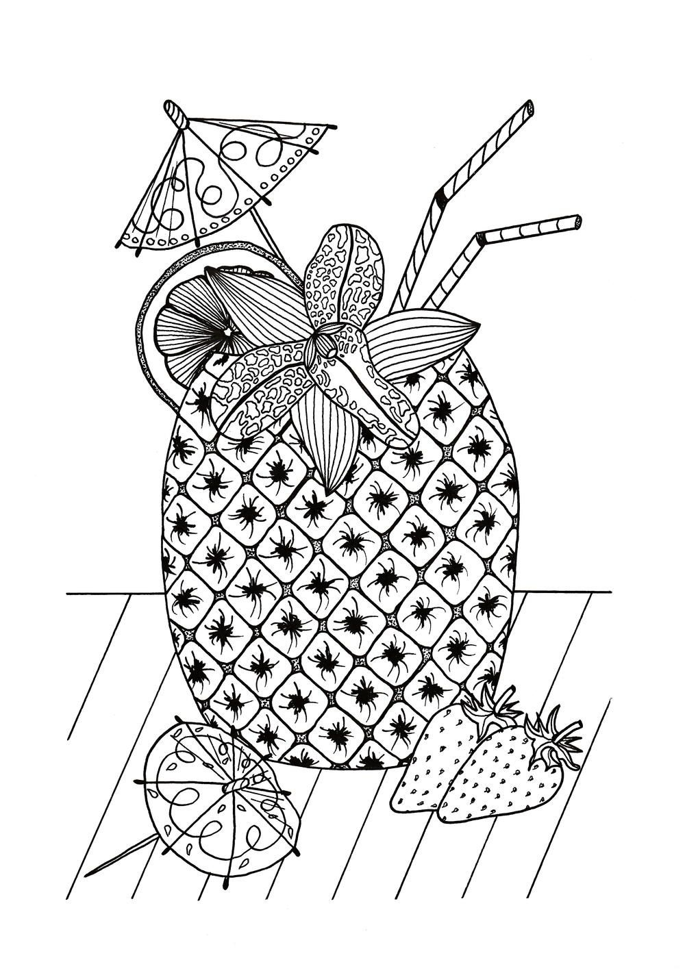 Tropical Island Cocktail Coloring Page | Free Adult Coloring Book - Free Printable Summer Coloring Pages For Adults