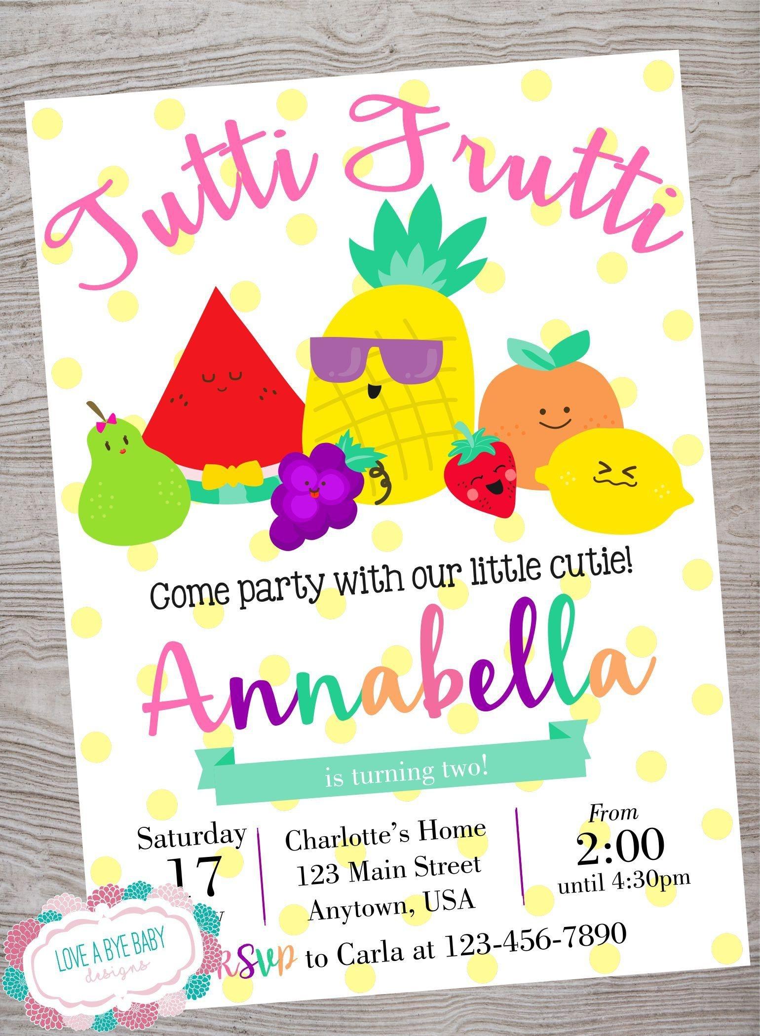 Tutti Frutti Fruit Baby Shower Birthday Party Invitation Printable - Tutti Frutti Free Printables