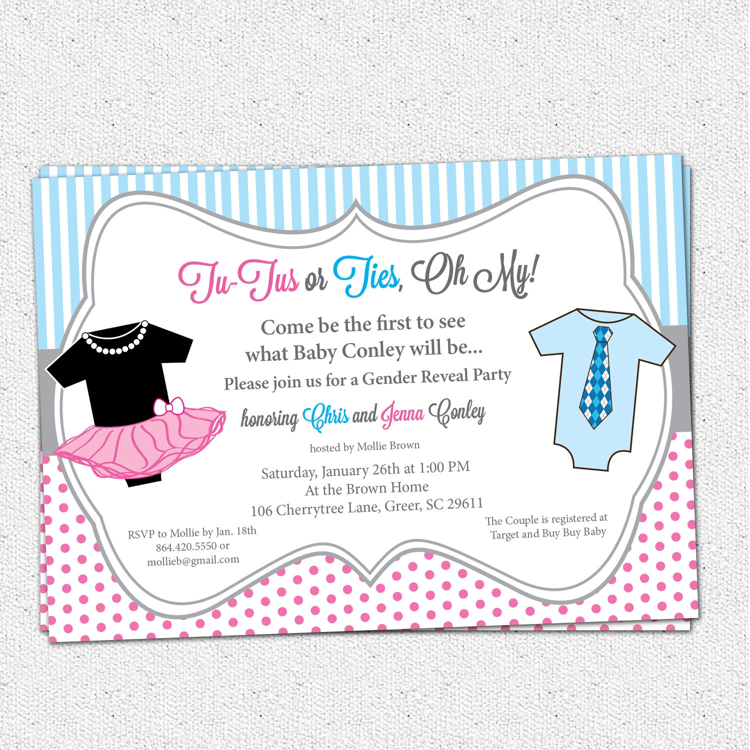 Tutus Or Ties, Gender Reveal Baby Shower Party Invitations, Pink And - Free Printable Gender Reveal Invitations
