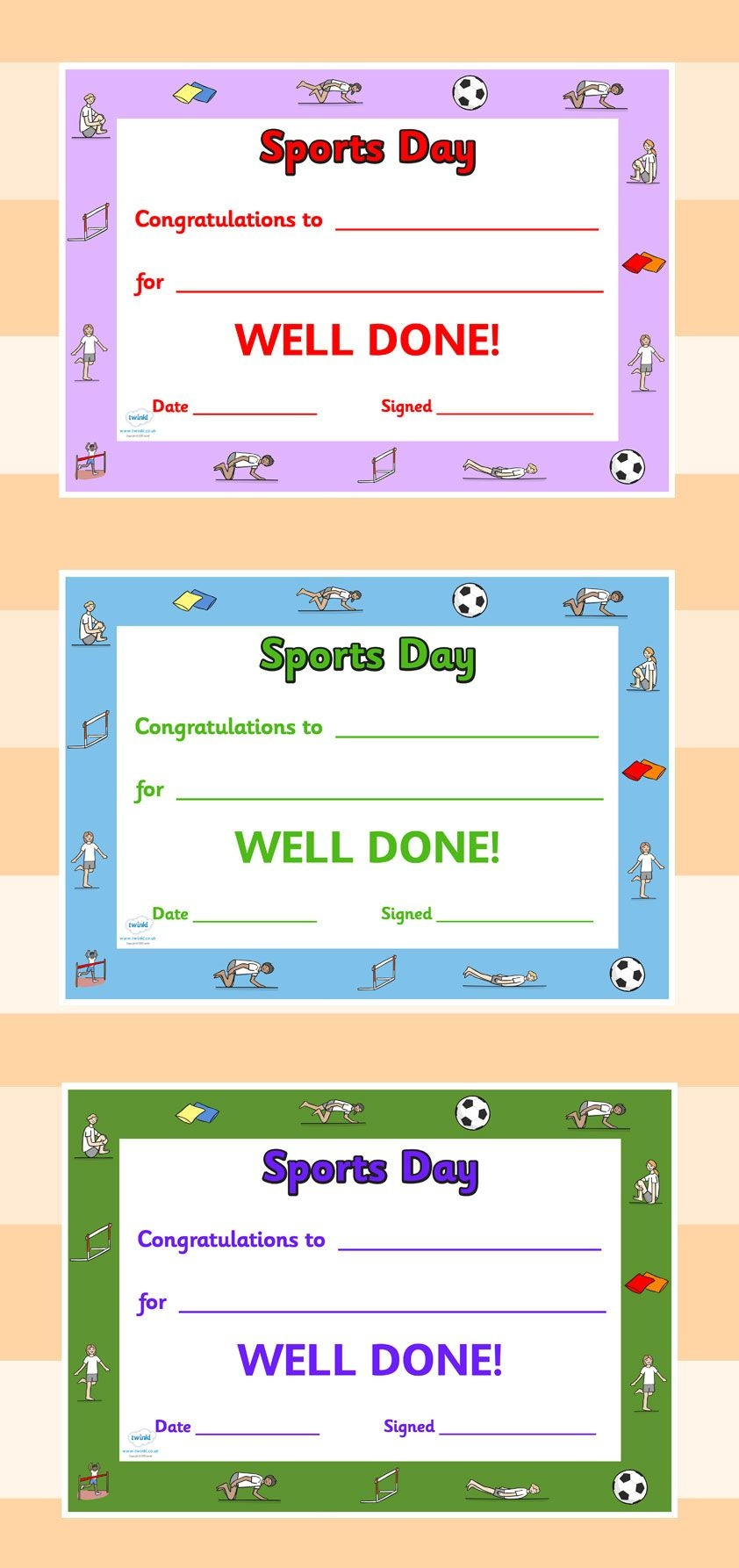 Twinkl Resources >> Editable Sports Day Award Certificates - Free Printable Sports Day Certificates