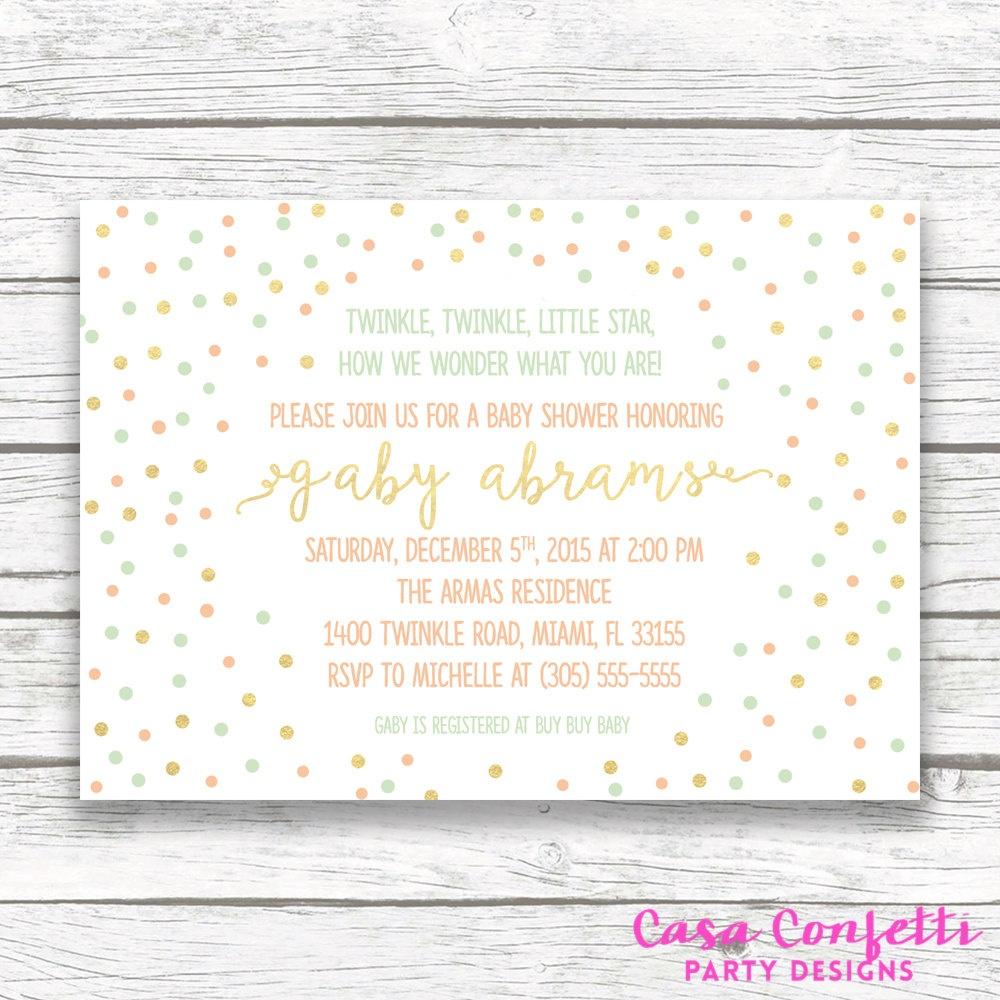 Twinkle Twinkle Little Star Baby Shower Invitation, Gender Neutral - Free Printable Twinkle Twinkle Little Star Baby Shower Invitations