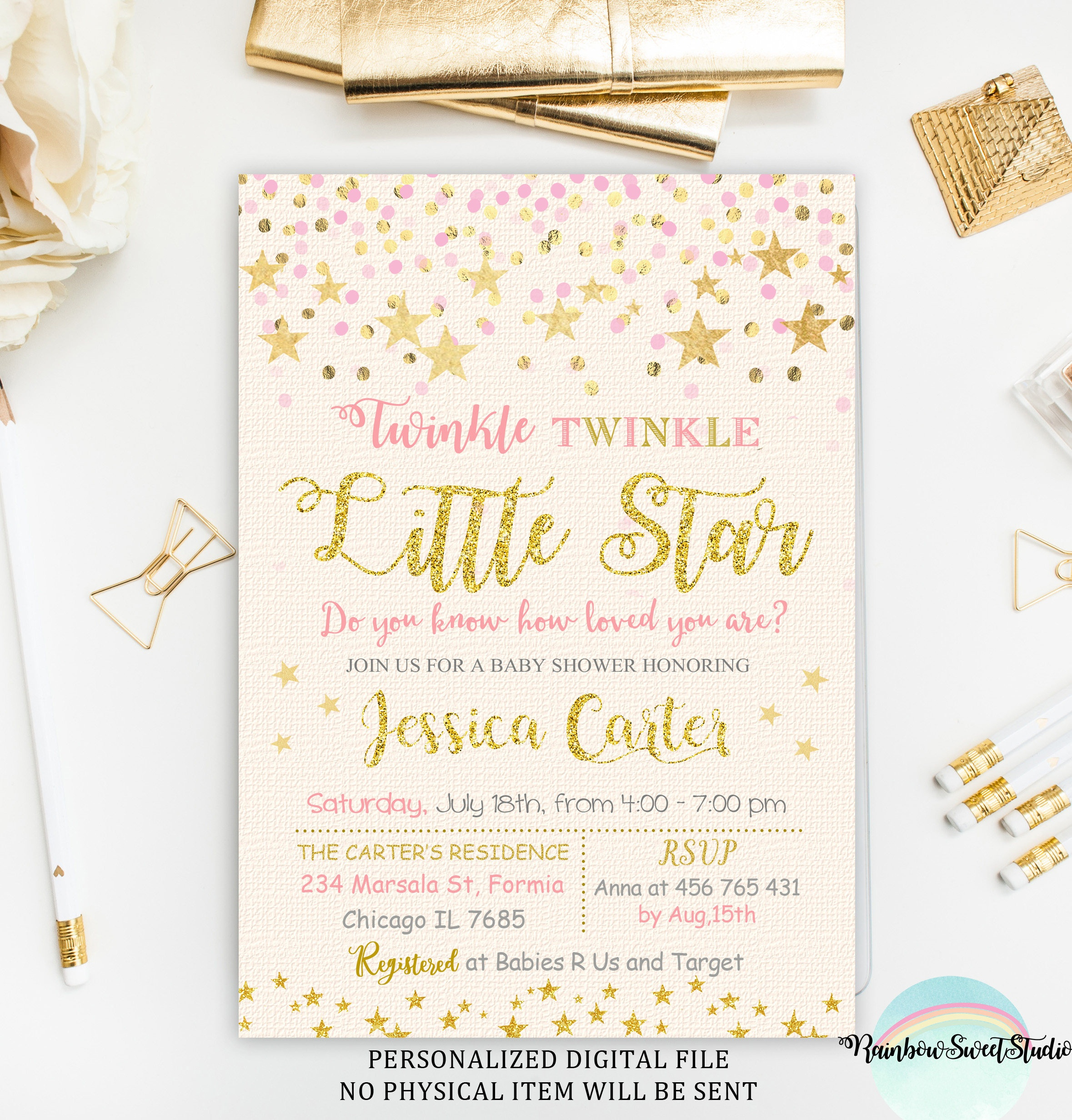 Twinkle Twinkle Little Star Baby Shower Invitation Pink And | Etsy - Free Printable Twinkle Twinkle Little Star Baby Shower Invitations