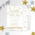 Twinkle Twinkle Little Star Baby Shower Invitation Printed Or | Etsy   Free Printable Twinkle Twinkle Little Star Baby Shower Invitations