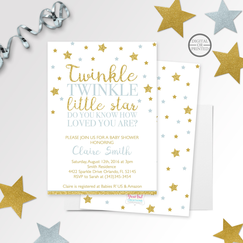 Twinkle Twinkle Little Star Baby Shower Invitation Printed Or | Etsy - Twinkle Twinkle Little Star Baby Shower Free Printables