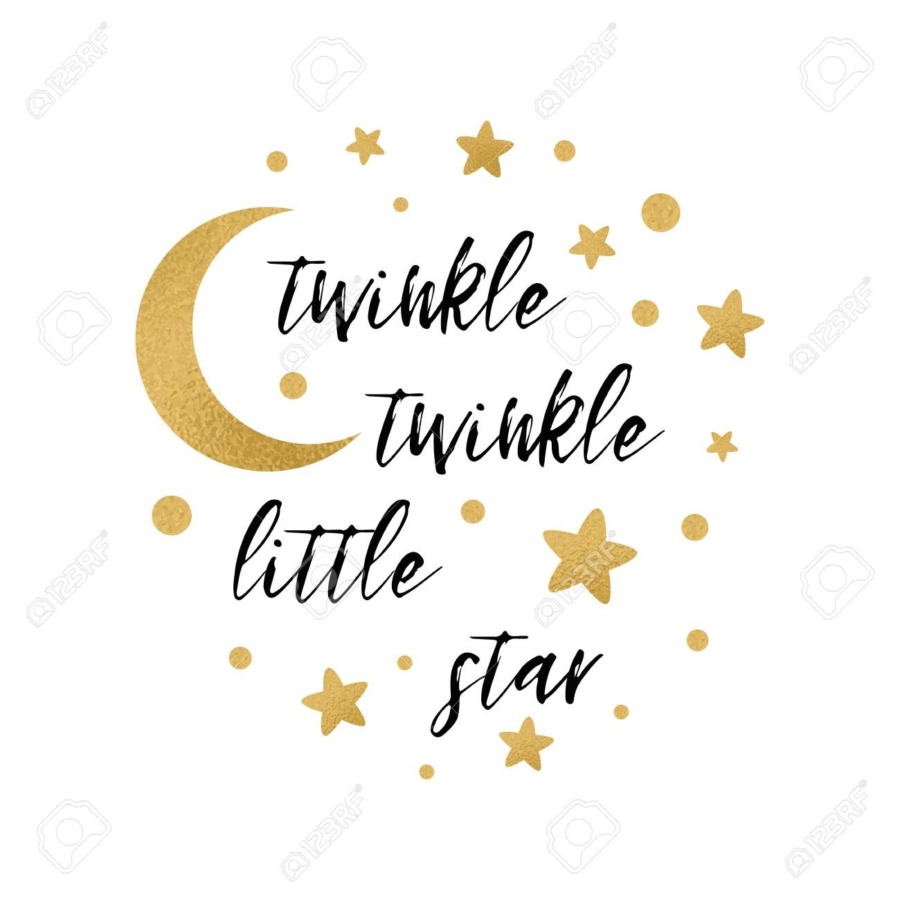 Twinkle Twinkle Little Star Text With Cute Gold Star And Moon - Twinkle Twinkle Little Star Baby Shower Free Printables