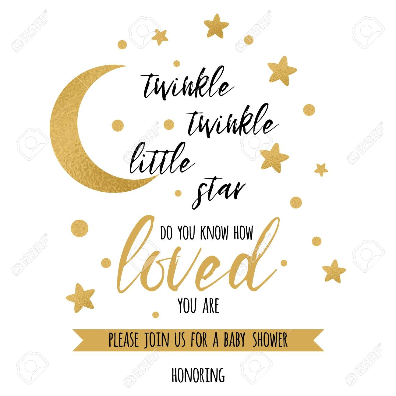 Twinkle Twinkle Little Star Text With Gold Star And Moon For.. Stock - Twinkle Twinkle Little Star Baby Shower Free Printables