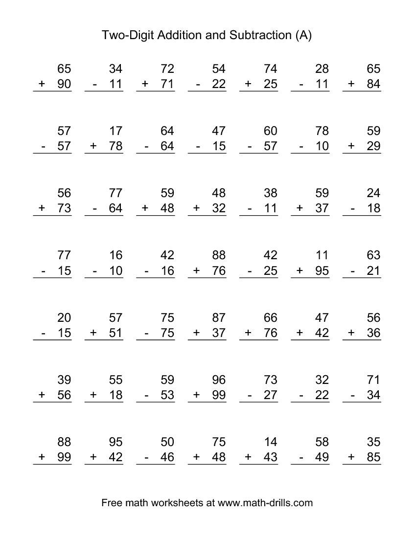 Two-Digit (A) Combined Addition And Subtraction Worksheet | Addition - Free Printable Two Digit Addition Worksheets