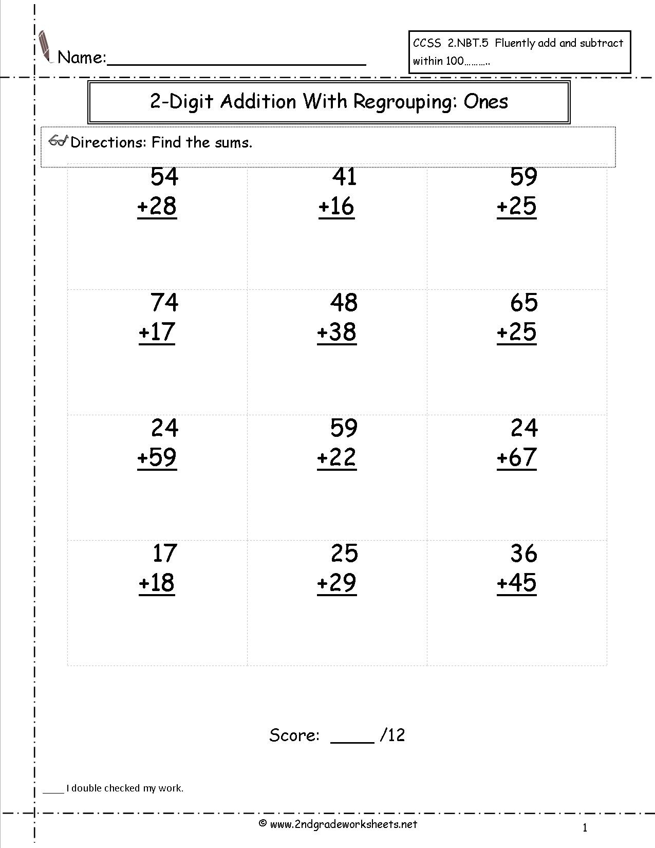 Two Digit Addition Worksheets - Free Printable Two Digit Addition Worksheets