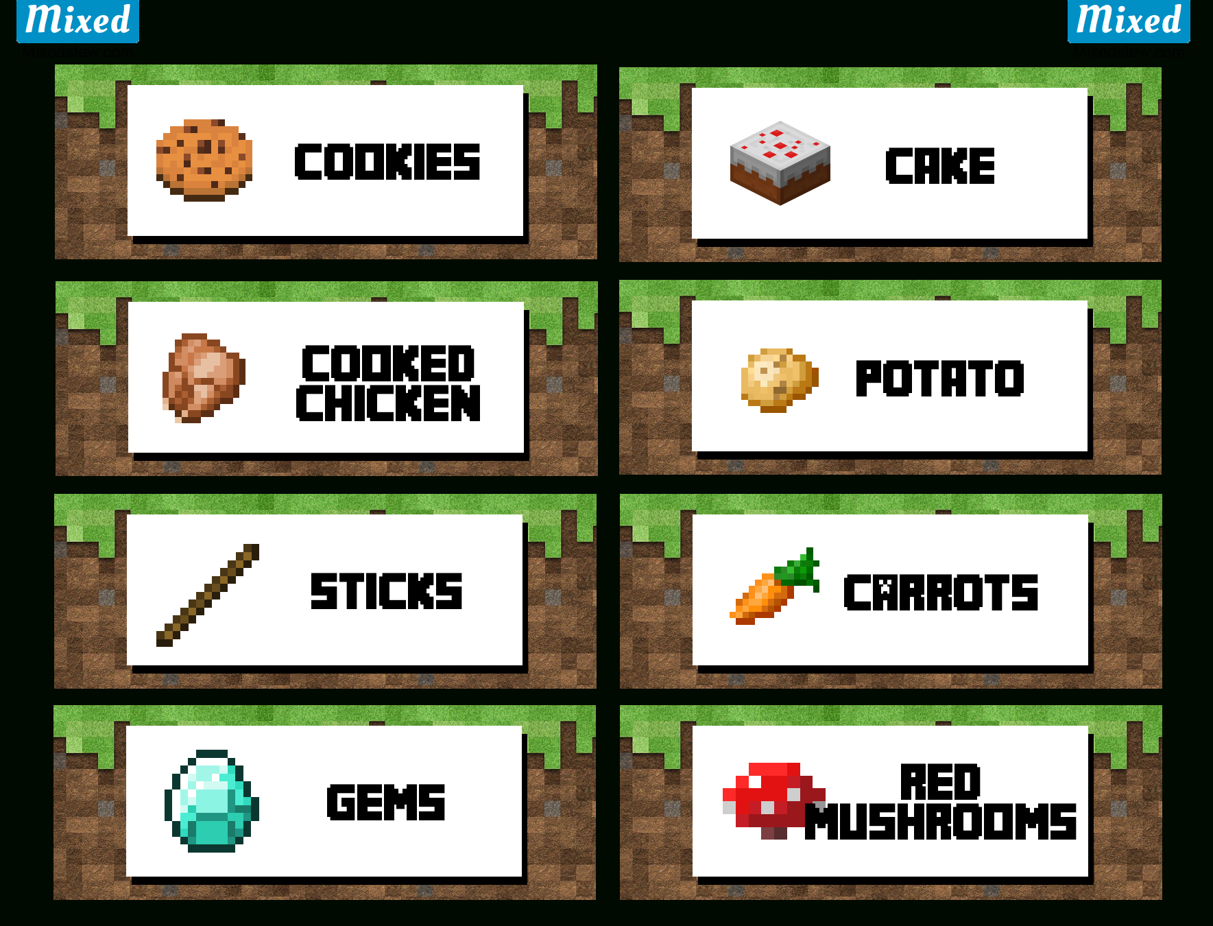 Ultimate Minecraft Party Printable Food Labels - Mixedstew - Free Minecraft Party Printables