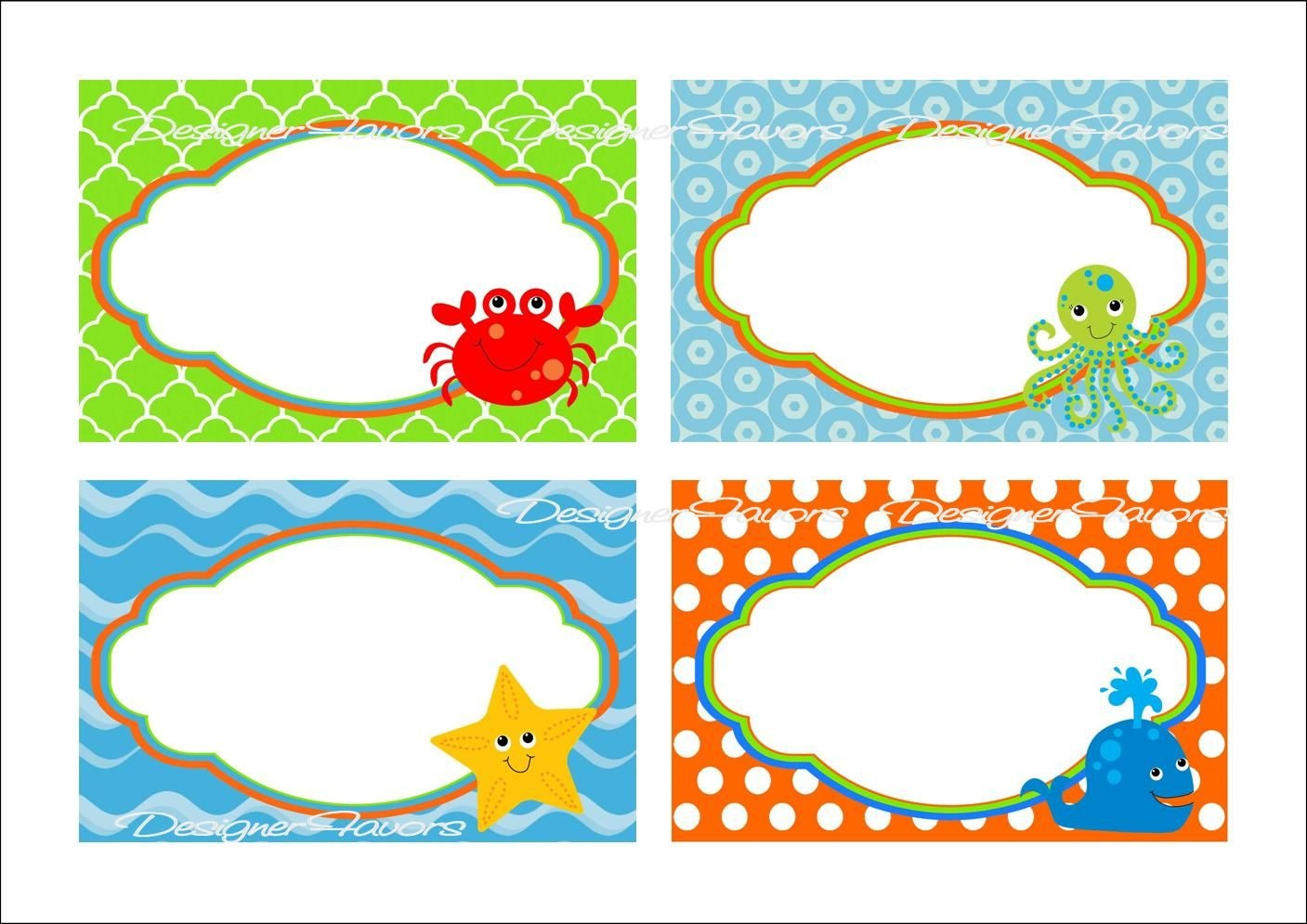 Under The Sea Food Labels Free Printable Tags - Imagestack - Free Printable Sea Creature Templates