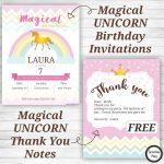 Unicorn Birthday Party Invitations And Thank You Notes   Free   Free Printable Unicorn Birthday Invitations