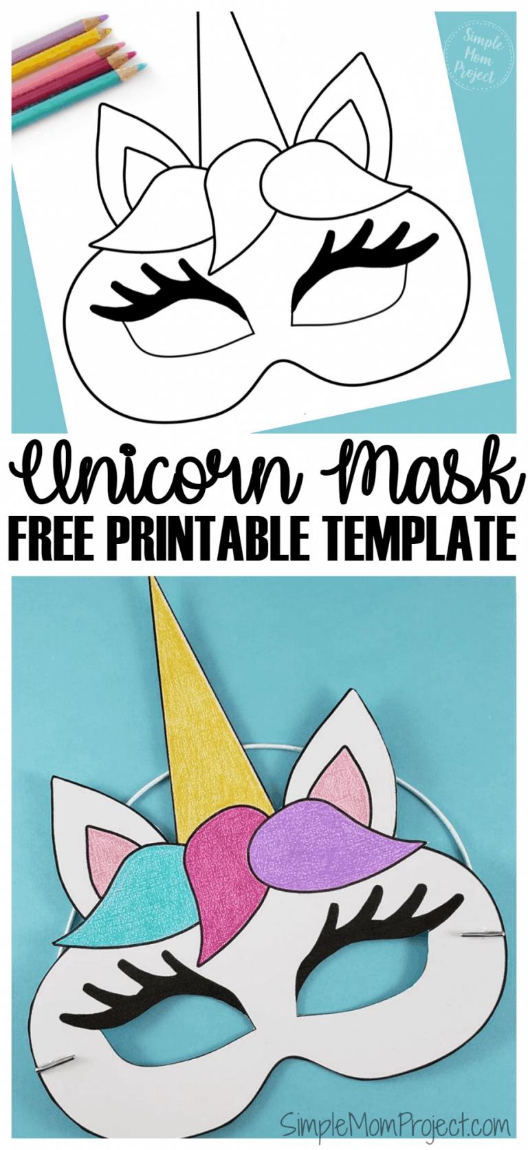 Unicorn Face Masks With Free Printable Templates - Simple Mom Project - Free Printable Unicorn Mask