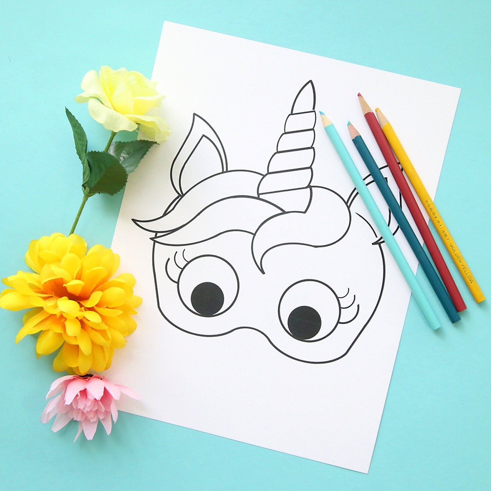Unicorn Masks To Print And Color {Free Printable} - It's Always Autumn - Free Printable Unicorn Face Template