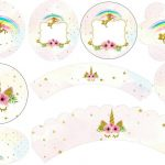 Unicorn Party: Free Printable Wrappers And Toppers For Cupcakes   Free Printable Unicorn Cupcake Toppers