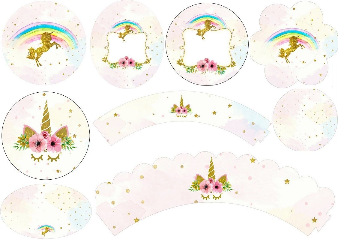 Unicorn Party: Free Printable Wrappers And Toppers For Cupcakes - Free Printable Unicorn Cupcake Toppers